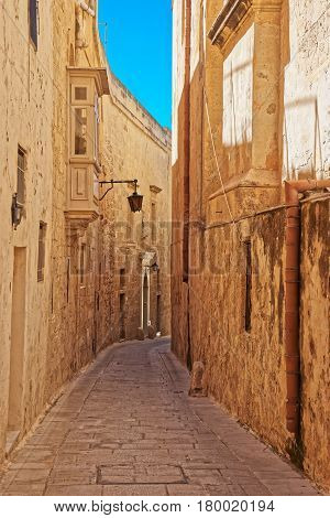 Street With Lantern And Balcony At Mdina