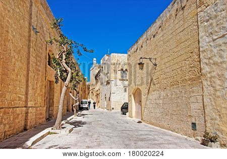 Street with lantern in Mdina of Malta