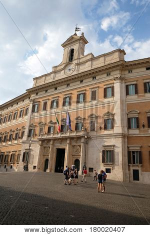 ROME, ITALY - SEPTEMBER 01: Palazzo Montecitorio, seat of the Italian Chamber of Deputies in Rome, Italy on September 01, 2016.