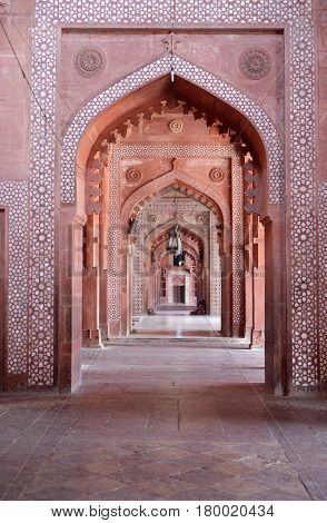 FATEHPUR SIKRI, INDIA - FEBRUARY 15 : Jama Masjid Mosque in Fatehpur Sikri complex, Uttar Pradesh, India on February, 15, 2016.