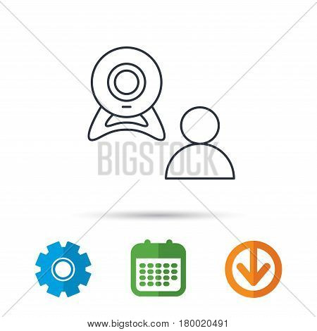 Video chat icon. Webcam chatting sign. Web conference symbol. Calendar, cogwheel and download arrow signs. Colored flat web icons. Vector