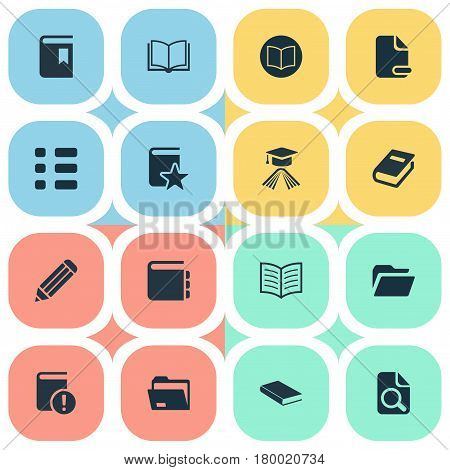Vector Illustration Set Of Simple Knowledge Icons. Elements Notepad, Opened Book, Cover And Other Synonyms Knowledge, Data And Blank.