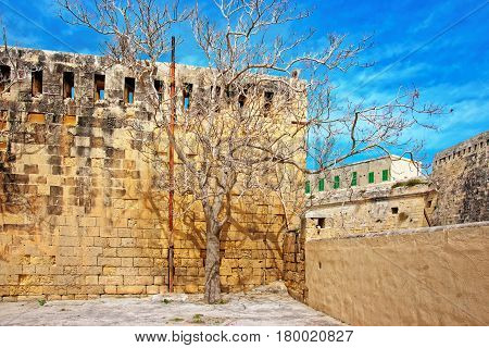 Walls Of St Elmo Fort In Valletta Of Malta