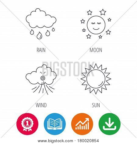 Weather, sun and rain icons. Moon night and wind linear signs. Award medal, growth chart and opened book web icons. Download arrow. Vector