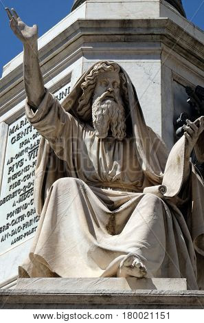 ROME, ITALY - SEPTEMBER 02: Seer Ezekiel by Carlo Chelli on the Column of the Immaculate Conception on Piazza Mignanelli in Rome, Italy on September 02, 2016.