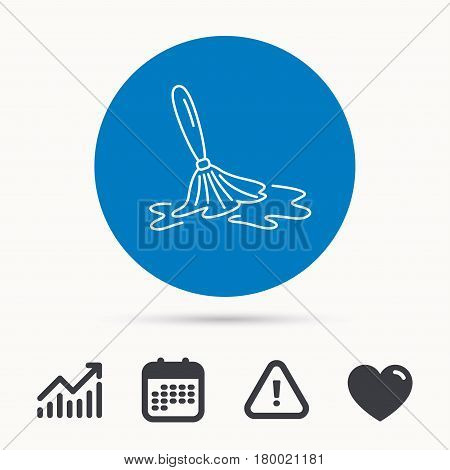 Wet cleaning icon. Clean-up floor tool sign. Calendar, attention sign and growth chart. Button with web icon. Vector
