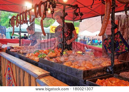Counter With Trader Cooking Selling Traditional Polish Food