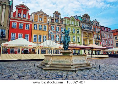 Fountain Of Neptune On Old Market Square Poznan