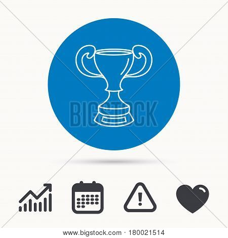 Winner cup icon. Award sign. Victory achievement symbol. Calendar, attention sign and growth chart. Button with web icon. Vector