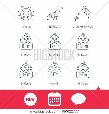 Infant child, ladybug and toddler baby icons. 0-18 months child linear signs. Unattended, parents supervision icons. New tag, speech bubble and calendar web icons. Vector