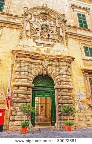Facade Of Auberge Italy In Valletta Old Town