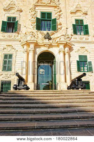 Facade Of Auberge De Castille Building At Valletta