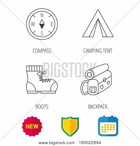 Compass, camping tent and hiking boots icons. Backpack linear sign. Shield protection, calendar and new tag web icons. Vector
