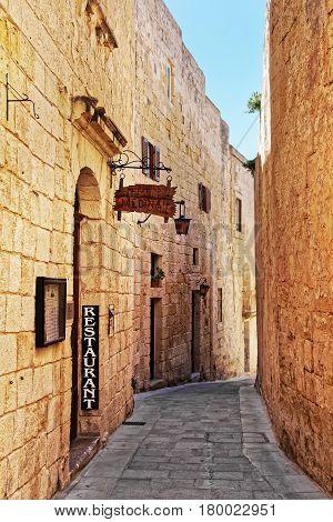 Narrow Silent Street In Mdina Old Town