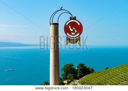 Round Name Sign At Vineyard Terraces Hiking Trail In Lavaux