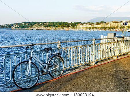 Bicycle At Promenade Of Quai Fleuri In Geneva Lake