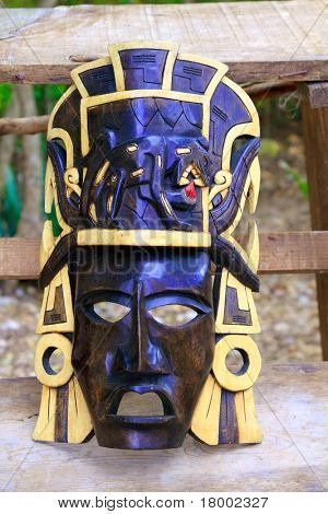 Mayan wood mask with jaguar in Yucatan Mexico