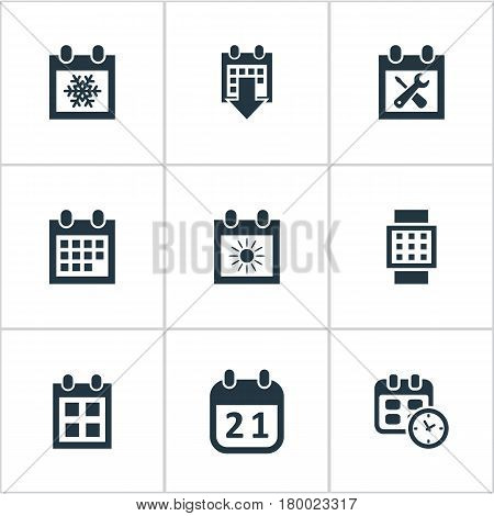 Vector Illustration Set Of Simple Date Icons. Elements Date Block, Snowflake, History And Other Synonyms Summer, Block And Sun.