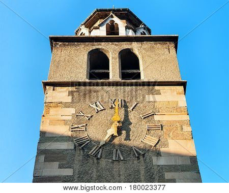 Clock Tower Of Madeleine Church At Old Town In Geneva