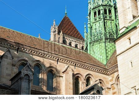 Fragment Of St Pierre Cathedral In Old Town Of Geneva