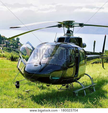 Helicopter In Lavaux In Switzerland