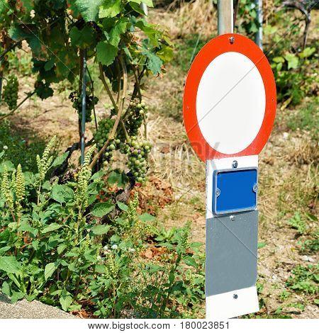 Road Sign At Vineyard Terraces Hiking Trail Lavaux Switzerland