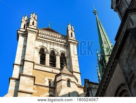 Spire Of St Pierre Cathedral In Old Town Of Geneva