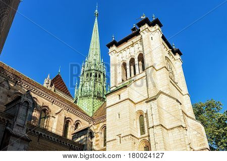 Steeple Of St Pierre Cathedral In Old Town In Geneva