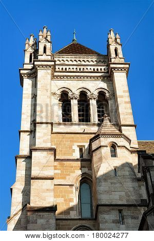 Tower Of St Pierre Cathedral In Old Town In Geneva