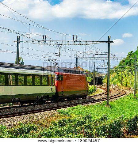 Train On Railroad Lavaux Vineyard Terraces