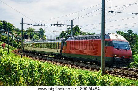 Train On Railroad In Lavaux Vineyard Terraces