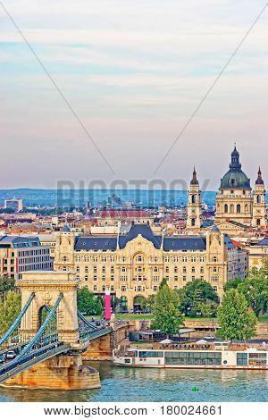 Chain Bridge Above Danube River And St Stephen Basilica Budapest