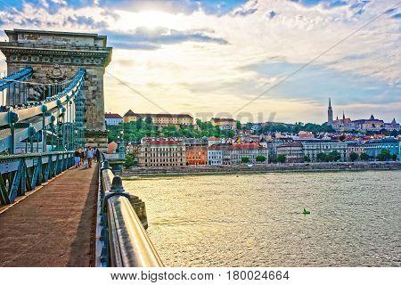 Chain Bridge And Buda City Center At Danube Embankment Budapest