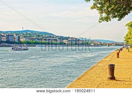 Cruise And Buda City At Danube Promenade