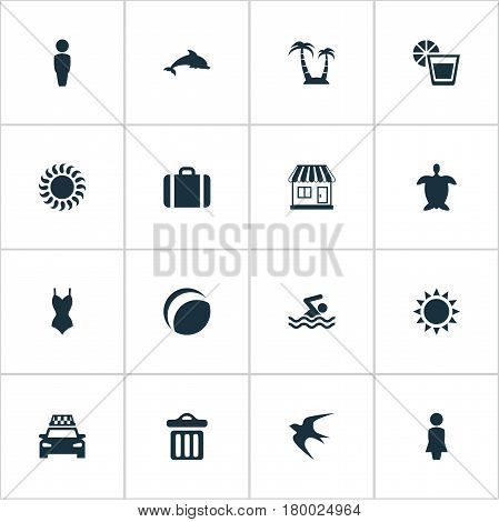 Vector Illustration Set Of Simple Seaside Icons. Elements Taxi, Bikini, Garbage And Other Synonyms Sea, Mammalian And Cab.