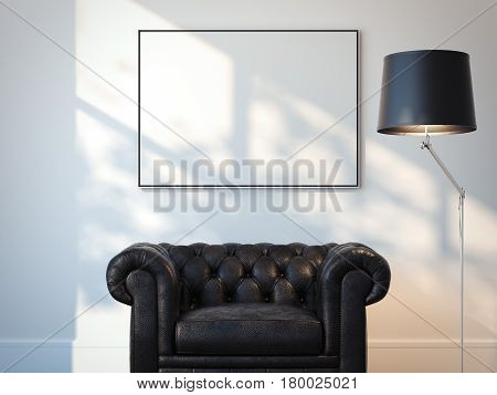 Modern interior with black armchair and blank white picture on the wall. 3d rendering