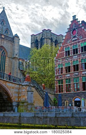 Graslei With St Michael Church And Bridge In Ghent