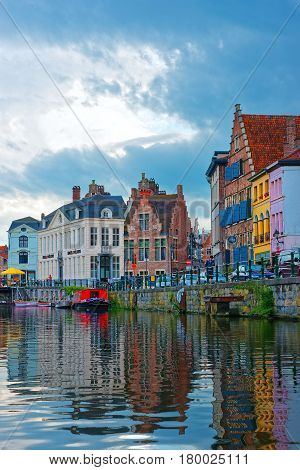 Guild Halls On Graslei At Lys River Canal In Ghent