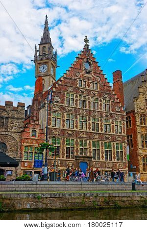Guildhalls And Clock Tower In Ghent East Flanders