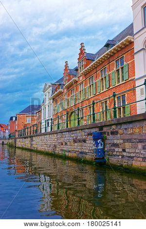Guildhalls On Graslei And Korenlei Over Lys River Ghent