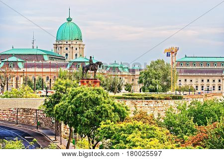 Statue Of Independence War And Buda Castle In Budapest
