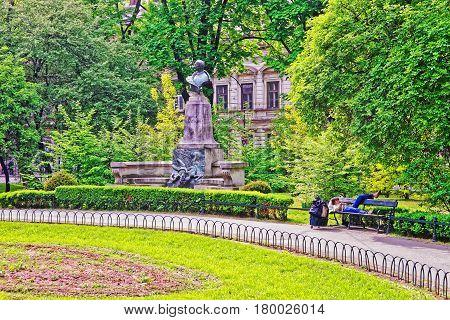 Artur Grottner Statue In Planty City Park In Krakow