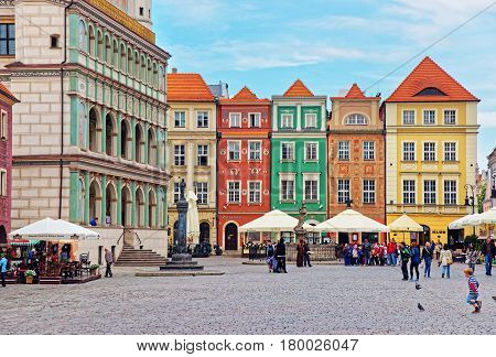 Cafes And Restaurants At Old Market Square In Poznan