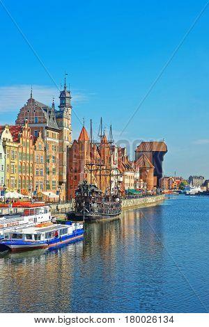 Ferry Boat At Waterside Of Motlawa River Of Gdansk