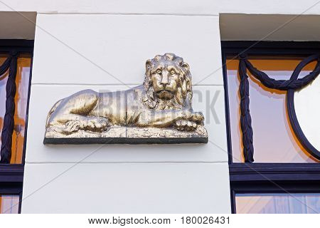 Lion Statue As Decoration On Building In Poznan