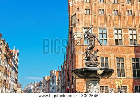 Neptune Monument At Long Market Square In Gdansk