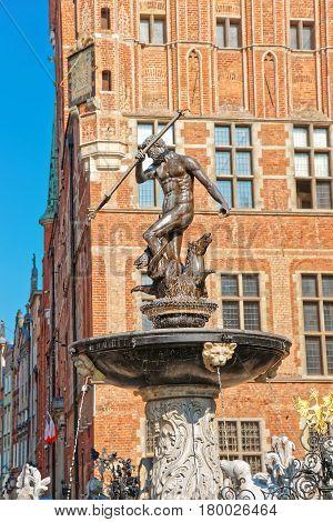 Neptune Monument On Long Market Square Gdansk