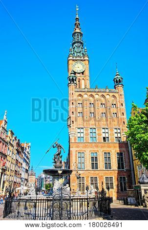 Neptune Fountain And Main City Hall And Dlugi Square Gdansk
