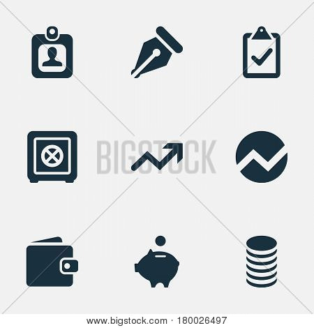 Vector Illustration Set Of Simple Finance Icons. Elements Statistic, Billfold, Piggy Bank And Other Synonyms Money, Analytics And Progress.
