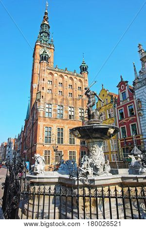 Neptune Fountain At Old City Hall At Dlugi Square Gdansk